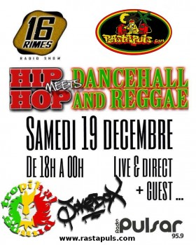 Samedi 19 décembre 2015 Soirée Spéciale Hip Hop / Reggae Ragga